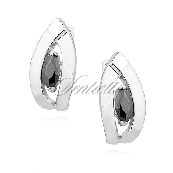 Silver (925) Earrings black zirconia