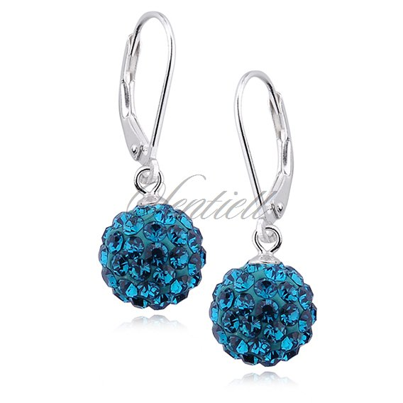 Silver (925) Earrings disco ball 10mm blue zircon