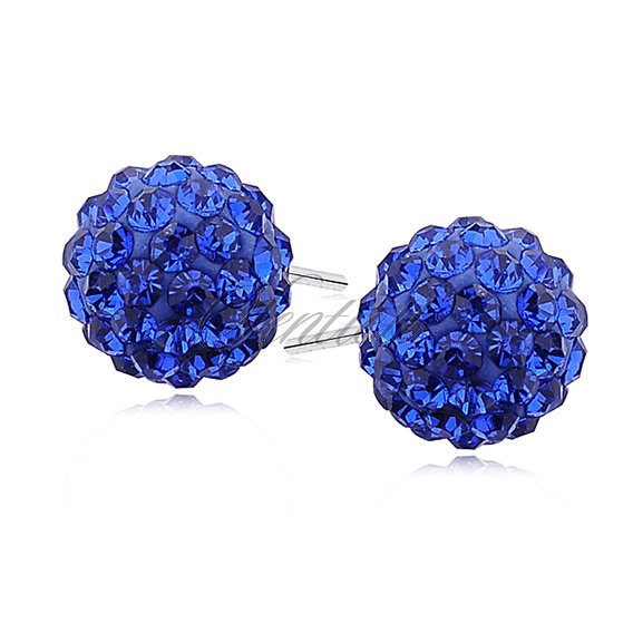 Silver (925) Earrings disco ball 10mm sapphire