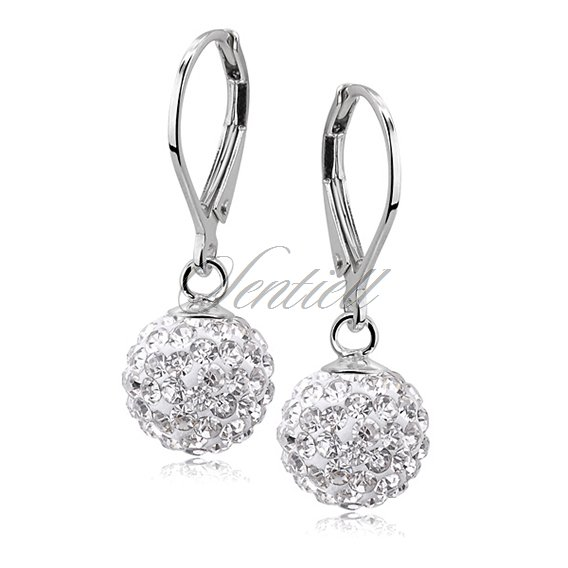 Silver (925) Earrings disco ball 10mm white