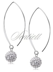 Silver (925) Earrings disco ball 10mm white ear hook