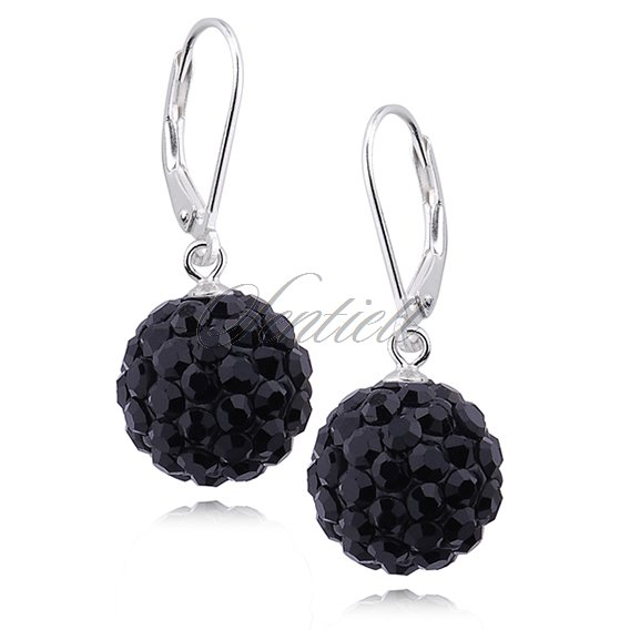 Silver (925) Earrings disco ball 12mm black