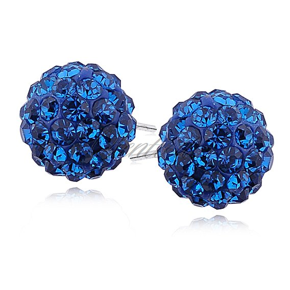 Silver (925) Earrings disco ball 12mm capri blue