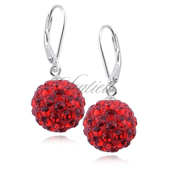 Silver (925) Earrings disco ball 12mm red