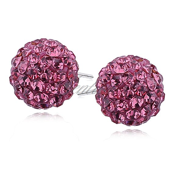 Silver (925) Earrings disco ball 12mm rose