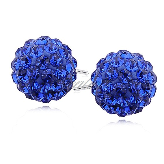 Silver (925) Earrings disco ball 12mm sapphire