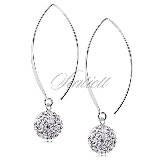 Silver (925) Earrings disco ball 12mm white ear hook