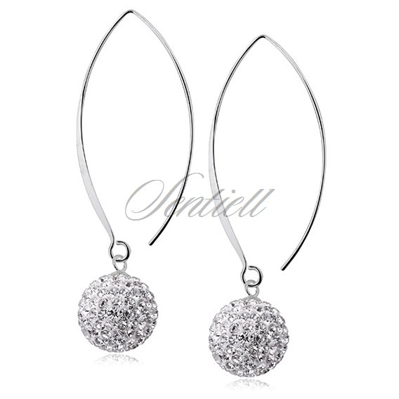 Silver (925) Earrings disco ball 14mm white ear hook