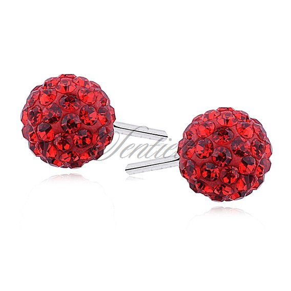 Silver (925) Earrings disco ball 6mm red