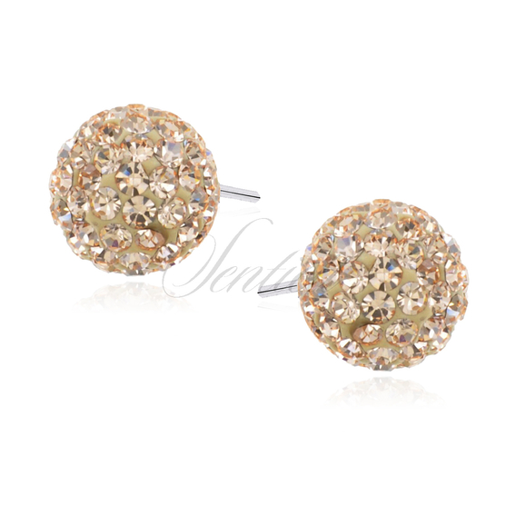 Silver (925) Earrings disco ball 6mm white