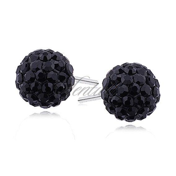 Silver (925) Earrings disco ball 8mm black