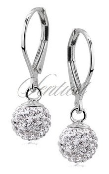 Silver (925) Earrings disco ball 8mm white classic
