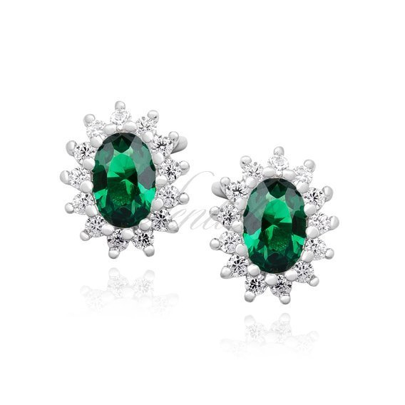 Silver (925) Earrings emerald colored zirconia