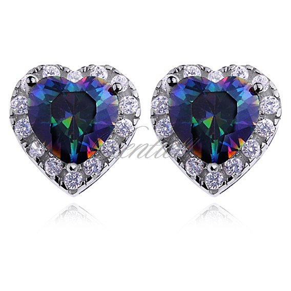 Silver (925) Earrings mutlicolored zirconia - hearts