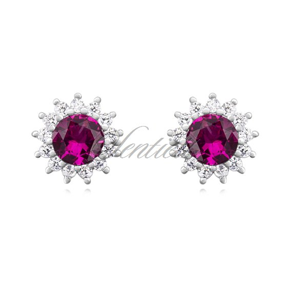 Silver (925) Earrings ruby colored zirconia