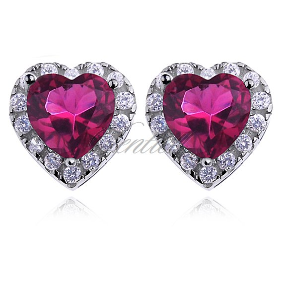 Silver (925) Earrings ruby colored zirconia - hearts
