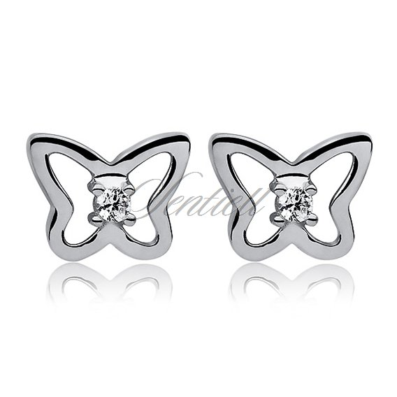 Silver (925) Earrings white zirconia-  butterflies