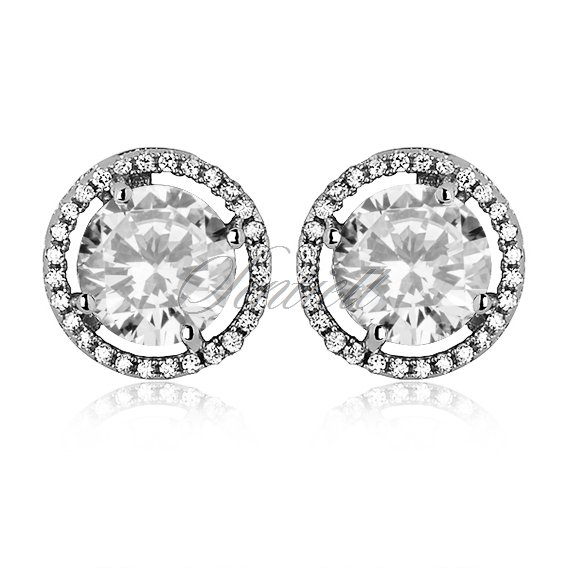 Silver (925) Earrings white zirconia- round white