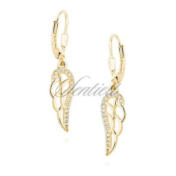 Silver (925) Earrings - wings with white zirconia, gold-plated