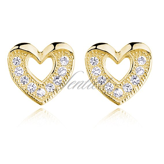 Silver (925) Earrings zirconia  gold-plated
