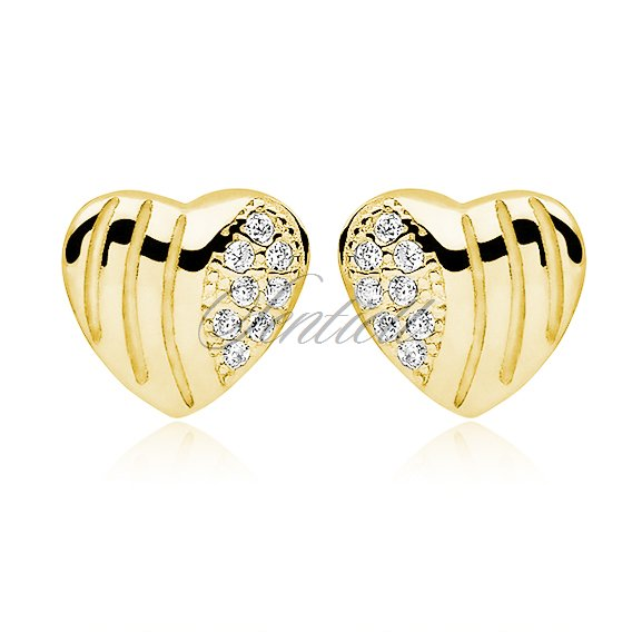 Silver (925) Earrings zirconia hearts microsetting gold-plated