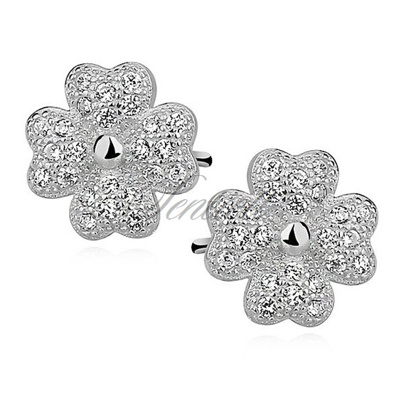 Silver (925) Earrings zirconia microsetting clovers rhodium-plated
