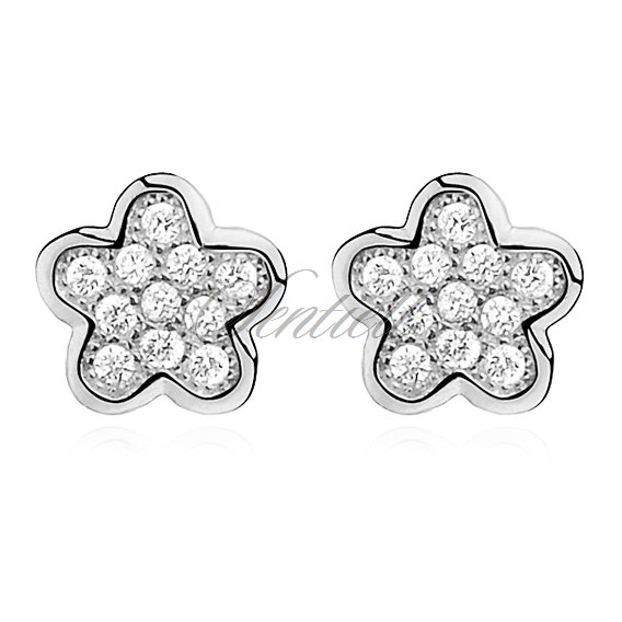 Silver (925) Earrings zirconia microsetting flowers