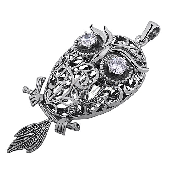 Silver (925) Owl pendant with zirconia - open work