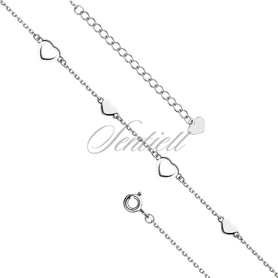 Silver (925) anklet - adjustable size - heart pendant with zirconia