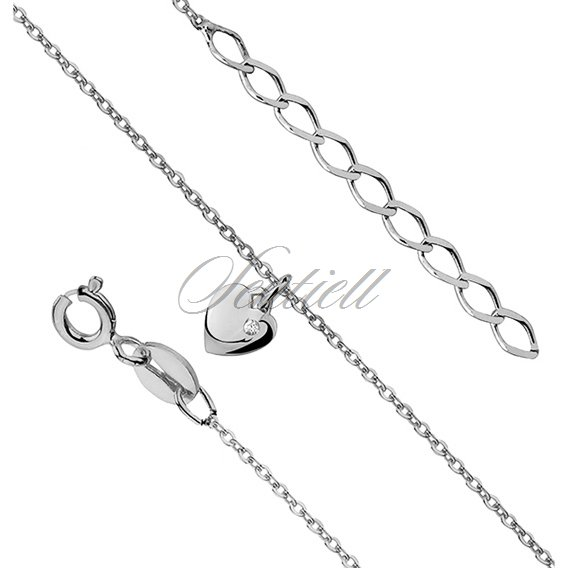 Silver (925) anklet - adjustable size with heart and zirconia