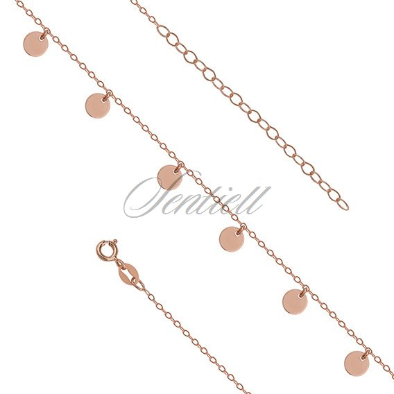 Silver (925) anklet - adjustable size with round pendants - rose gold