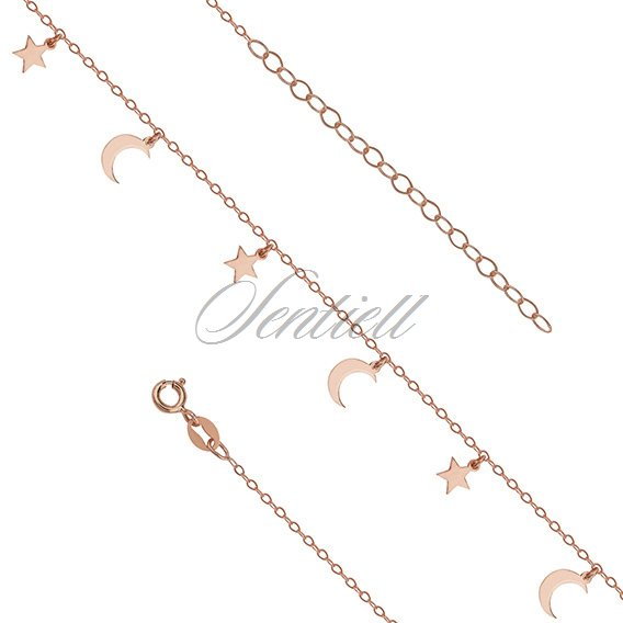Silver (925) anklet - adjustable size with star and moon pendants