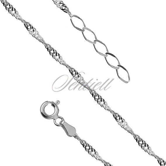 Silver (925) anklet singapur - adjustable size - rhodium plated
