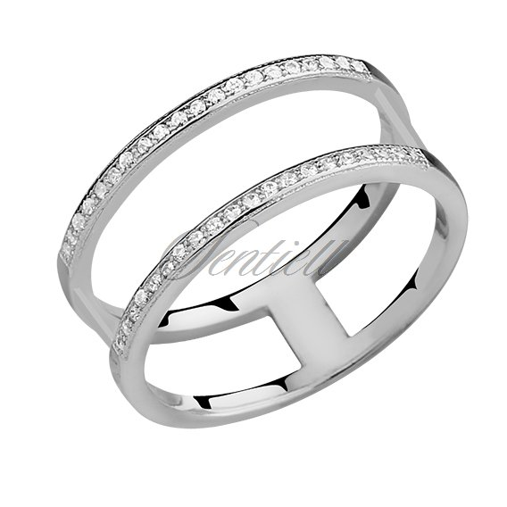 Silver (925) big double ring with white zirconia