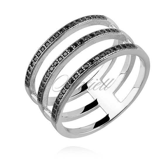 Silver (925) big ring with black zirconia