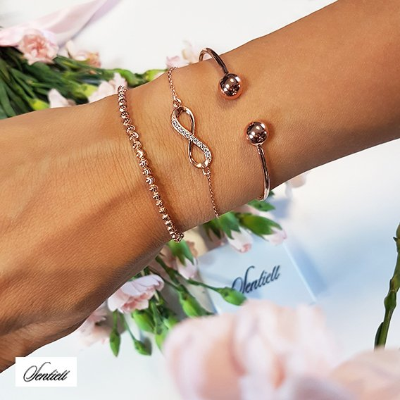 Silver (925) bracelet Infinity with zirconia rose gold-plated