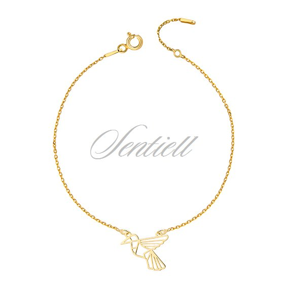 Silver (925) bracelet - Origami humming-bird, gold-plated