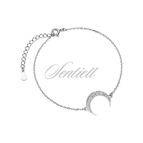 Silver (925) bracelet - crescent with zirconia