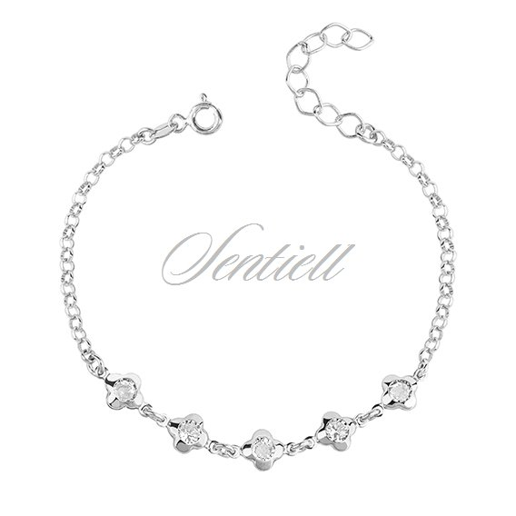 Silver (925) bracelet - flowers with zirconia