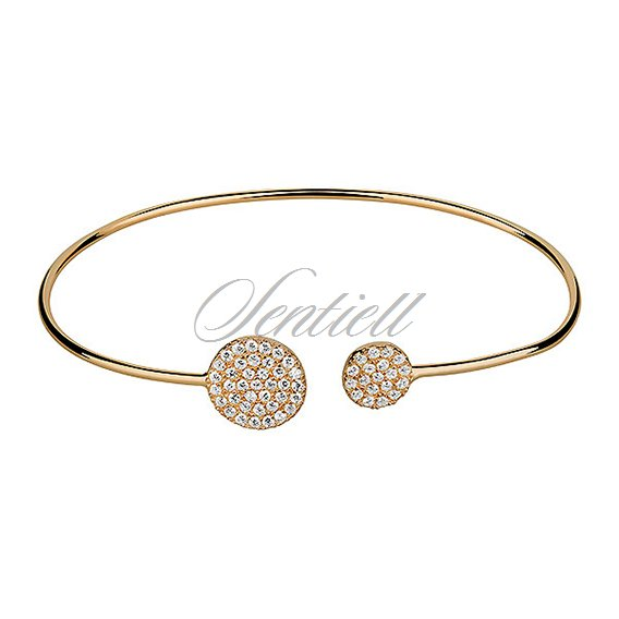 Silver (925) bracelet gold-plated circle with zirconia