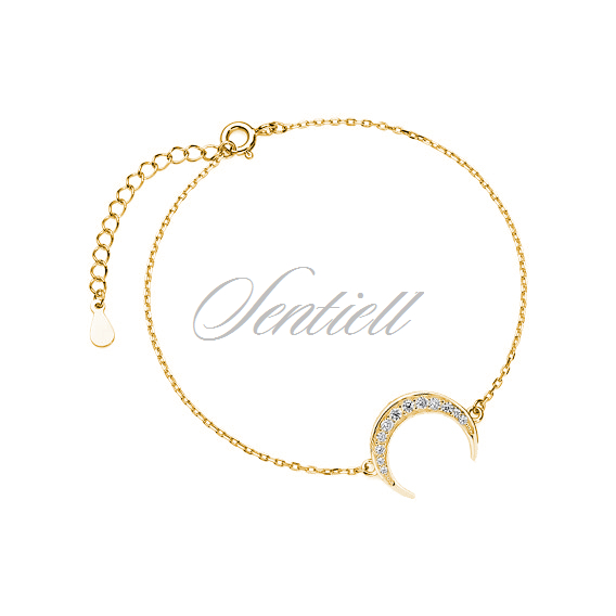 Silver (925) bracelet - gold-plated crescent with zirconia