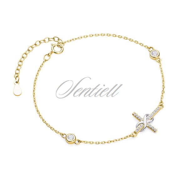 Silver (925) bracelet - gold-plated cross with zirconia and infinity
