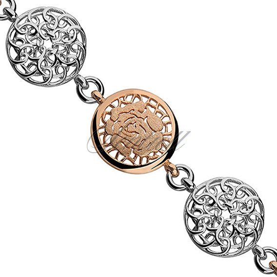 Silver (925) bracelet - gold-plated flower
