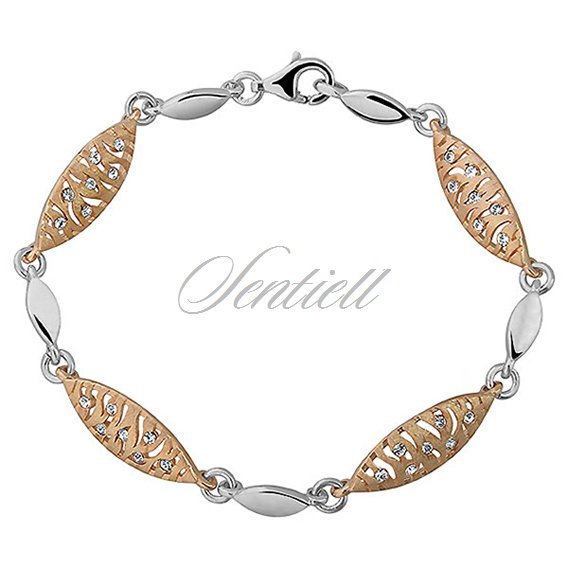 Silver (925) bracelet - gold-plated zebra pattern with zirconia