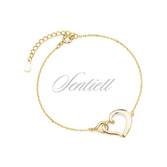 Silver (925) bracelet heart and infinity - gold-plated