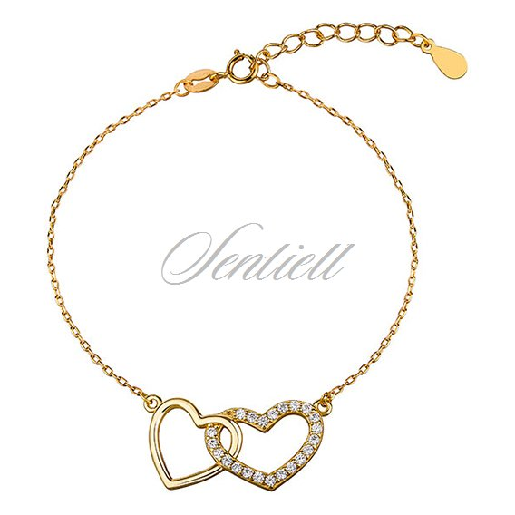 Silver (925) bracelet - hearts with zirconia, gold-plated