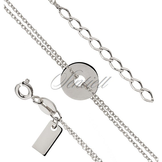 Silver (925) bracelet of celebrities - round pendant with double chain