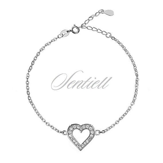 Silver (925) bracelet of celebrities with heart, zirconia