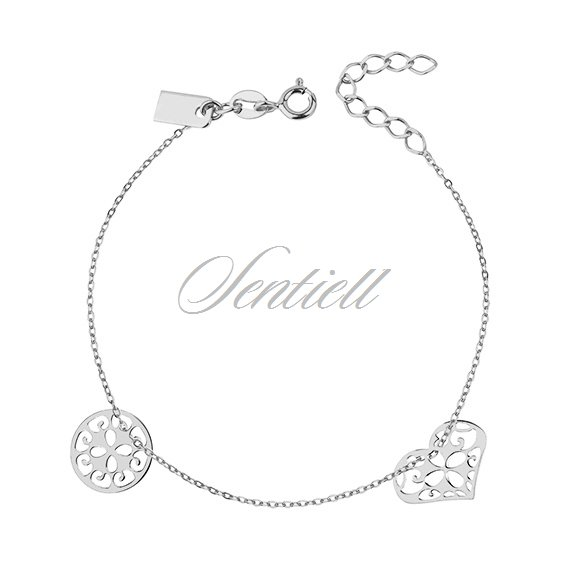 Silver (925) bracelet of celebrities with open-work circle and heart