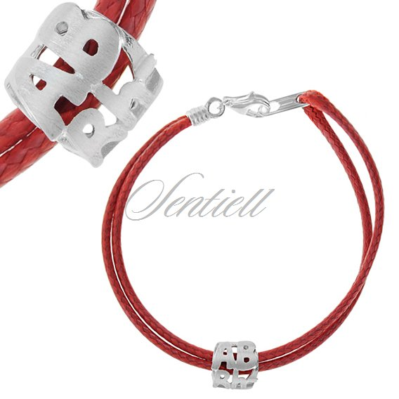 Silver (925) bracelet, red cord- Blood type ABrh-
